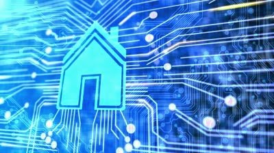 Stock footage animated printed circuit board with a house for Smart home technology 2014